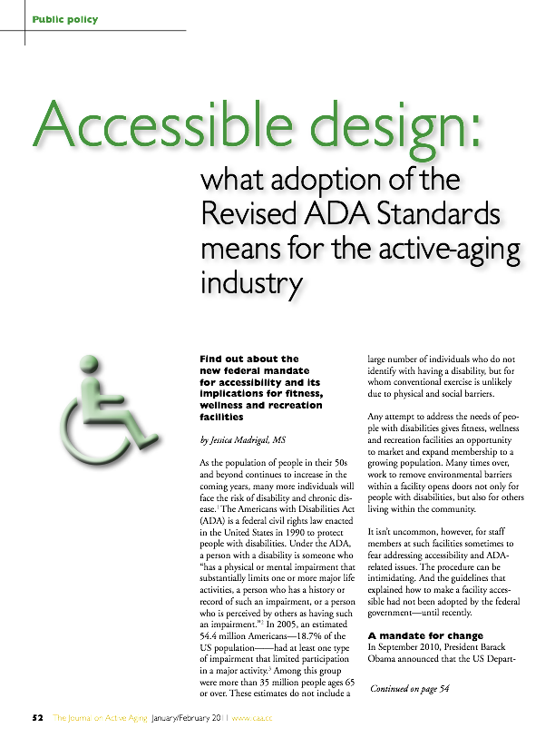 Accessible design: what adoption of the Revised ADA Standards means for the active-aging industry by Jessica Madrigal, MS-1242