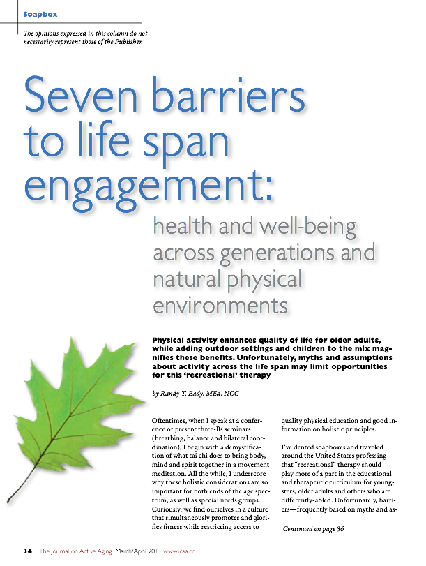 Seven barriers to life span engagement: health and well-being across generations and natural physical environments by Randy T. Eady, MEd, NCC-1282