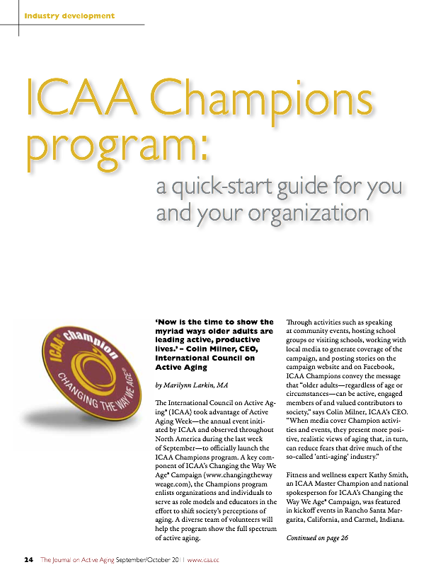 ICAA Champions program: a quick-start guide for you and your organization by Marilynn Larkin, MA-1344