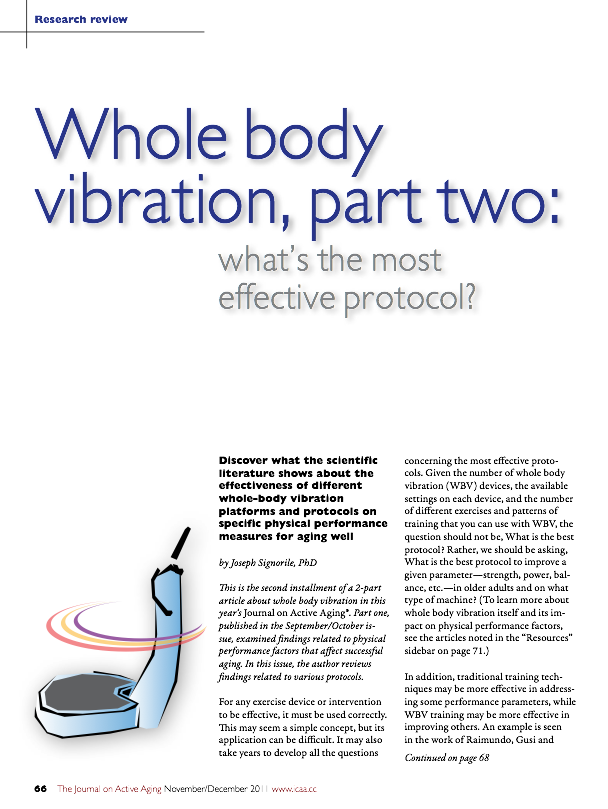 Whole body vibration, part two: what's the most effective protocol? by Joseph Signorile, PhD-1381
