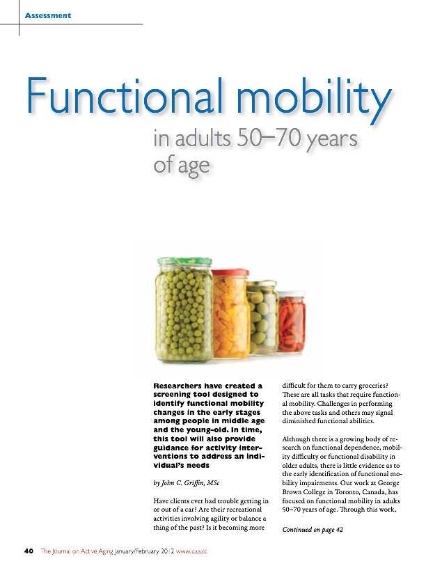 Functional mobility in adults 50 - 70 years of age by John C. Griffin, MSc-1412