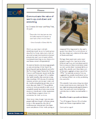 Communicate the value of warm-up, cool-down and stretching  by Christine Schnitzer and Patty Trela, PT, DPT-1455