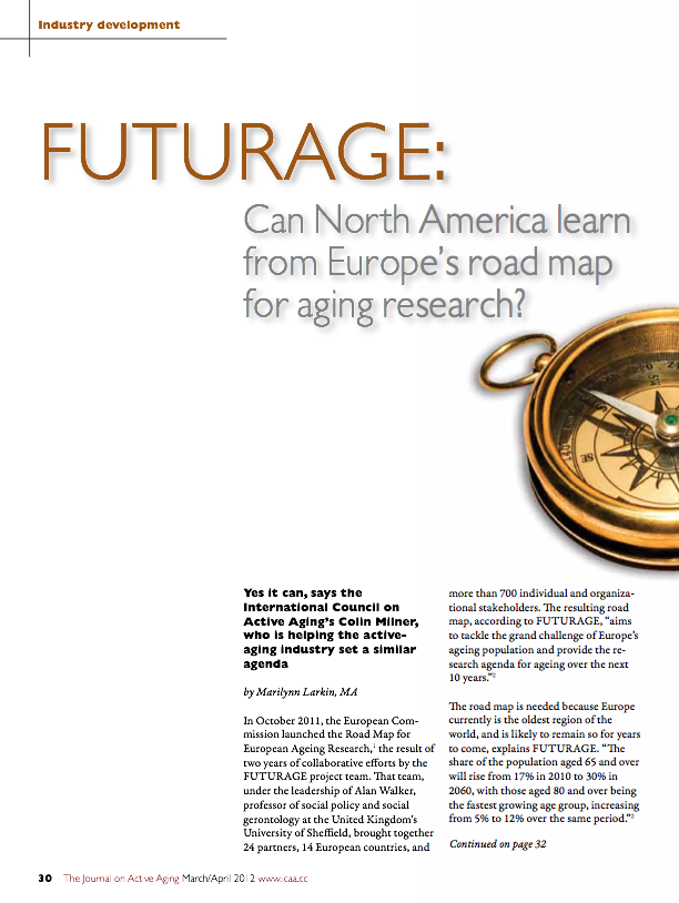 FUTURAGE: Can North America learn from Europe's road map for aging research? by Marilynn Larkin, MA-1468