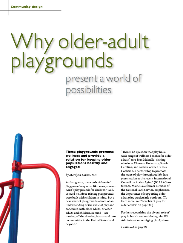Why older-adult playgrounds present a world of possibilities by Marilynn Larkin, MA-1488