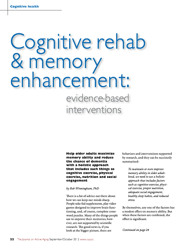 Cognitive rehabilitation and memory enhancement: evidence-based interventions for older adults by Rob Winningham, PhD-1517