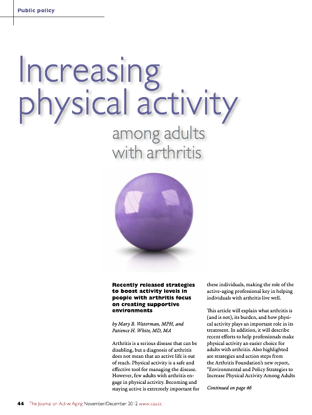 Increasing physical activity among adults with arthritis by Mary B. Waterman, MPH, and Patience H. White, MD, MA-1532