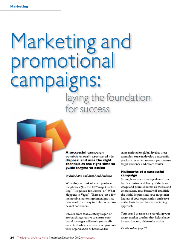 Marketing and promotional campaigns: laying the foundation for success by Beth Rand and Erin Read Ruddick-1542