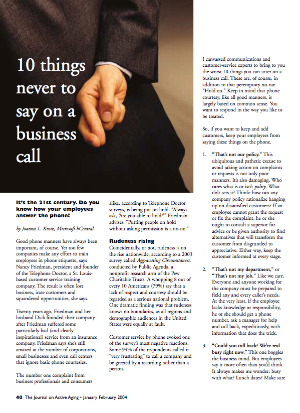10 things never to say on a business call by Joanna L. Krotz, Microsoft bCentral-181