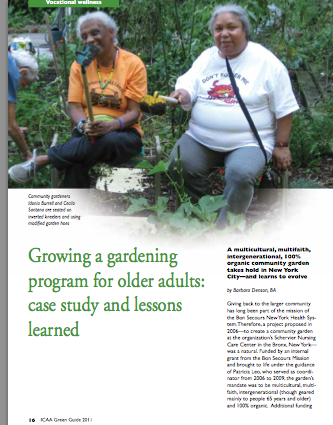 Growing a gardening program for older adults: case study and lessons learned by Barbara Denson, BA-2066