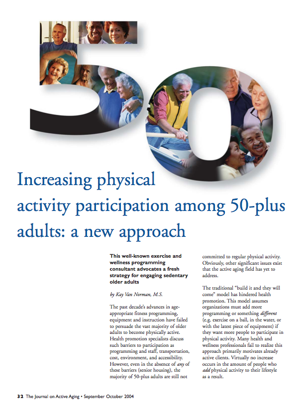 Increasing physical activity participation among 50-plus adults: a new approach by Kay Van Norman-245