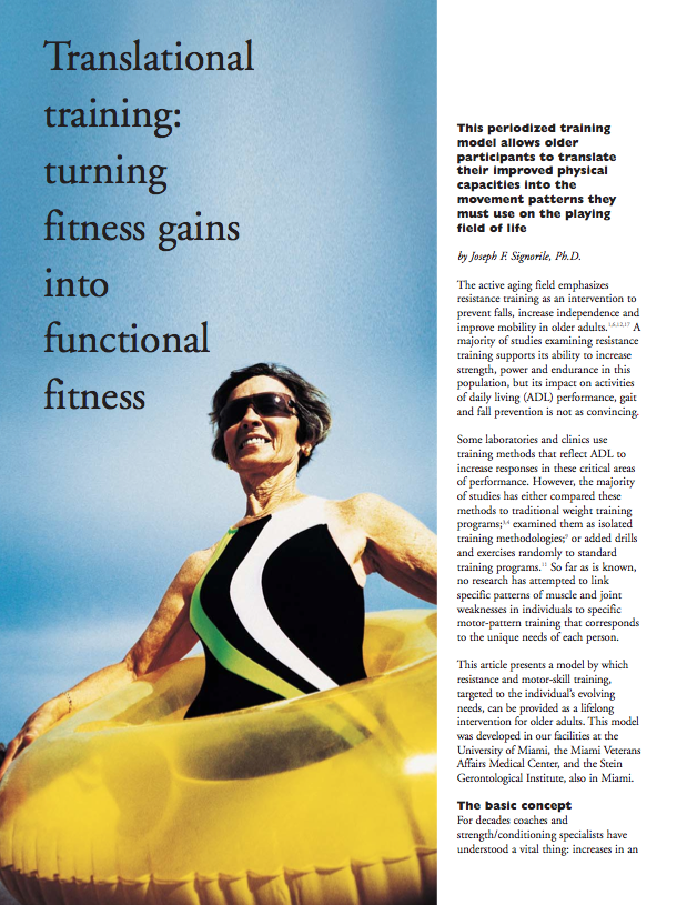 Translational training: turning fitness gains into functional fitness by Joseph F. Signorile, Ph.D.-321