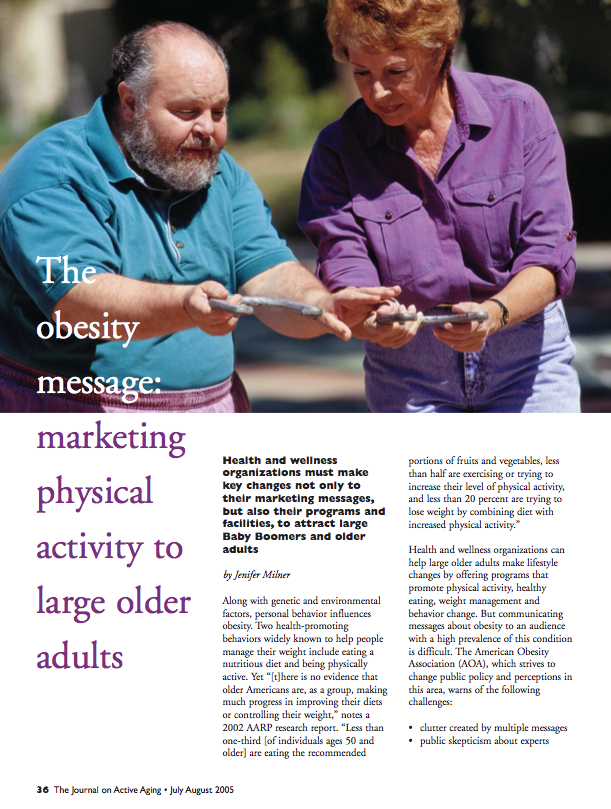 The obesity message: marketing physical activity to large older adults by Jenifer Milner-332