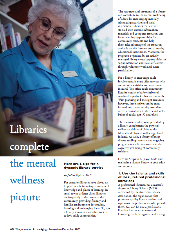 Libraries complete the mental wellness picture by Judith Tapiero-356