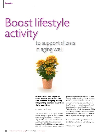Boost lifestyle activity to support clients in aging well by John C. Griffin, MSc-3644