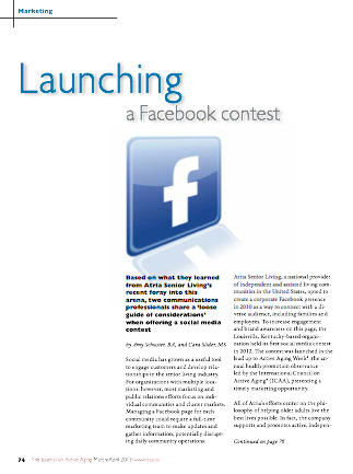 Launching a Facebook contest by Amy Schuster, BA, and Cara Slider, MS-3650