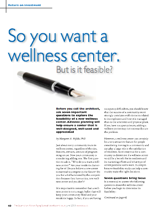 So you want a wellness center. But is it feasible? by Margaret A. Wylde, PhD-4186