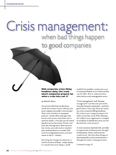Crisis management: when bad things happen to good companies by Michelle Moore-4270