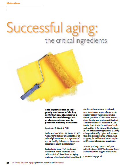 Successful aging: the critical ingredients by Michael R. Mantell, PhD-4342