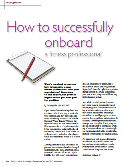 How to successfully onboard a fitness professional by Bethany Garrity, MS, HFS-4354