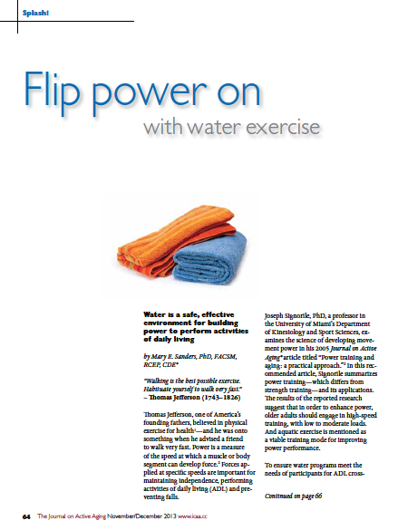 Splash! Flip power on with water exercise by Mary E. Sanders, PhD, FACSM, RCEP, CDE.-4471