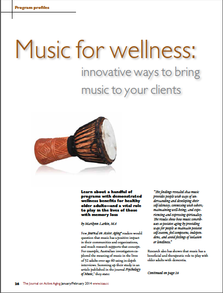 Music for wellness: innovative ways to bring music to your clients by Marilynn Larkin, MA-4612