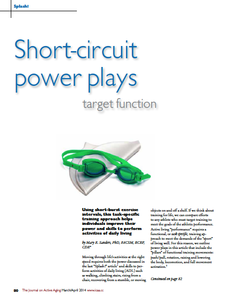 Short-circuit power plays target function by Mary E. Sanders, PhD, FACSM, RCEP, CDE-4694