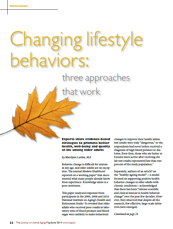 Changing lifestyle behaviors: three approaches that work by Marilynn Larkin, MA-4784
