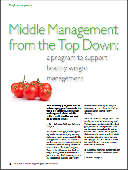 Middle Management from the Top Down: a program to support healthy weight management by Terry Eckmann, PhD, and Catherine Solie, BA-4903