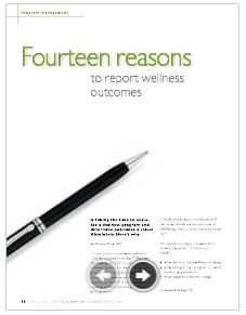 Fourteen reasons to report wellness outcomes by Patricia Ryan, MS-4961