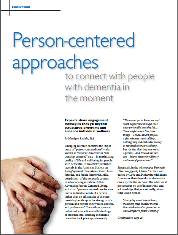 Person-centered approaches to connect with people with dementia in the moment by Marilynn Larkin, MA-4980