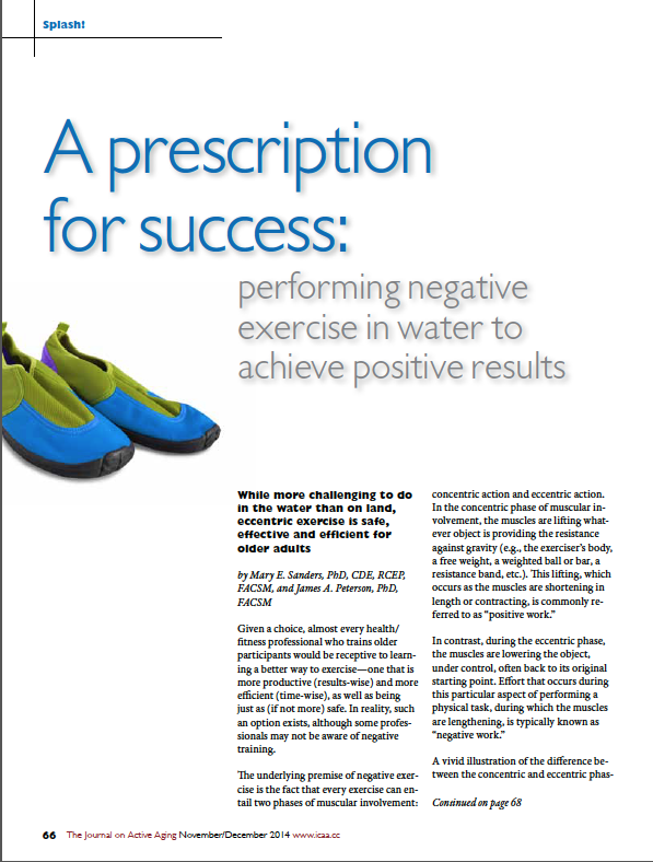 A prescription for success: performing negative exercise in water to achieve positive results by , Mary E. Sanders, PhD, CDE, RCEP, FACSM, and James A. Peterson, PhD, FACSM-4987