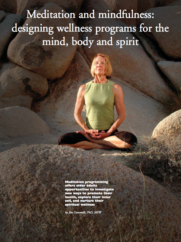 Meditation and mindfulness: designing wellness programs for the mind, body and spirit by Jim Concotelli, PhD, MSW-540