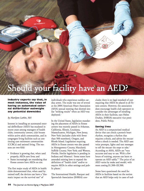 Should your facility have an AED? by Marilynn Larkin, MA-541