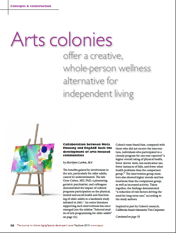 Arts colonies offer a creative, whole-person wellness alternative for independent living by Marilynn Larkin, MA-5410