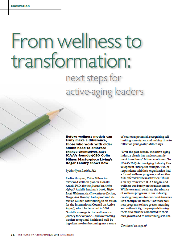 From wellness to transformation: next steps for active-aging leaders by Marilynn Larkin, MA-5444
