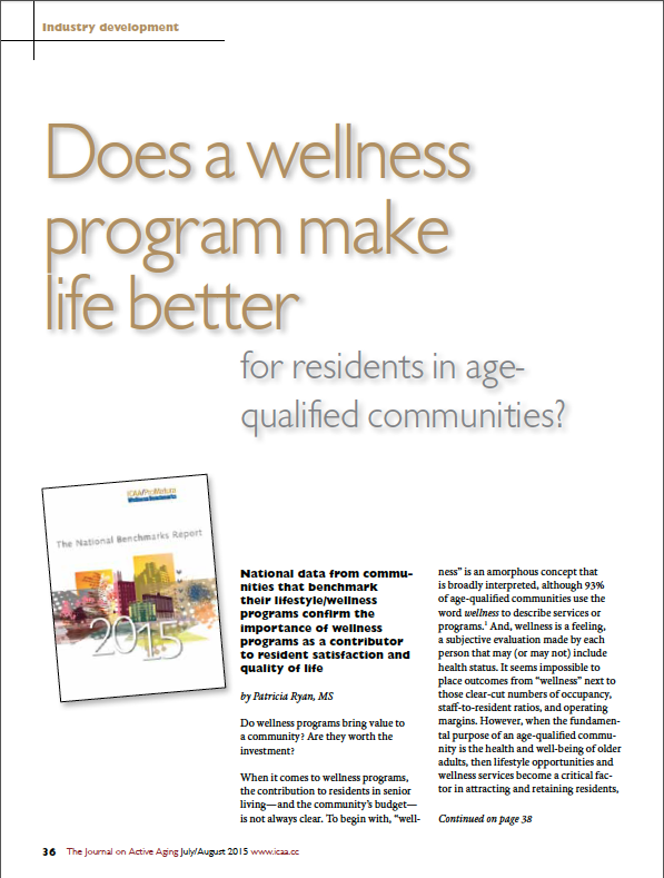 Does a wellness program make life better for residents in age-qualified communities? by Patricia Ryan, MS-5497