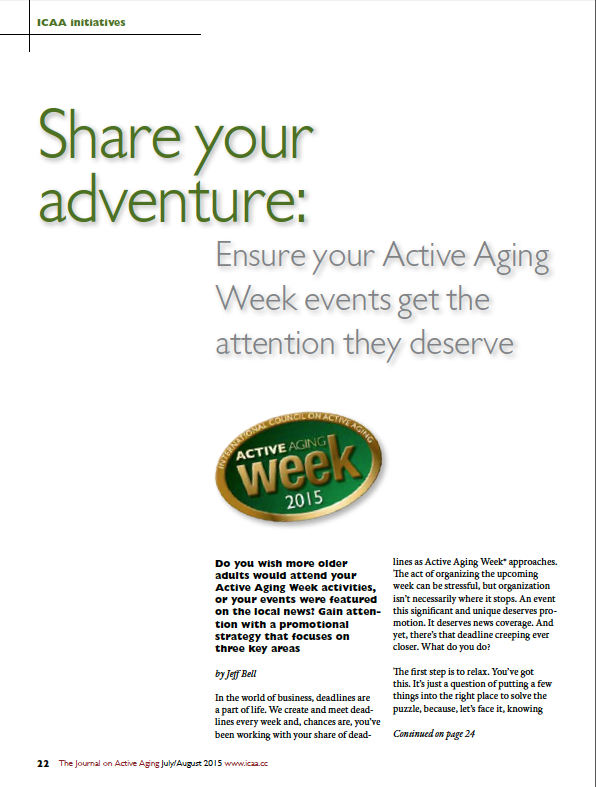 Share your adventure: Ensure your Active Aging Week events get the attention they deserve by Jeff Bell-5501