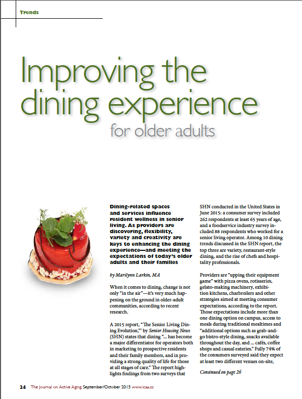 Improving the dining experience for older adults by Marilynn Larkin, MA-5504