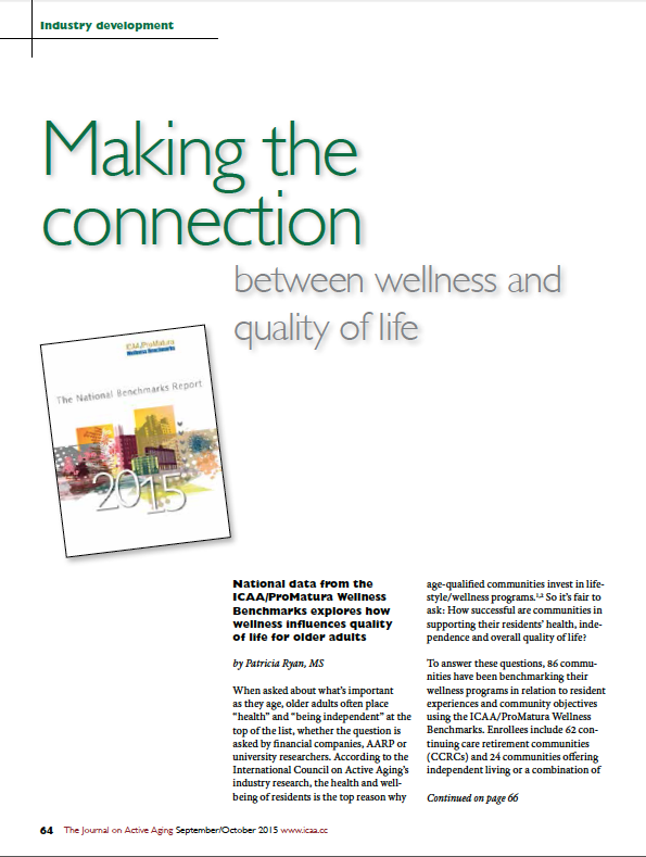 Making the connection between wellness and quality of life by Patricia Ryan, MS-5517