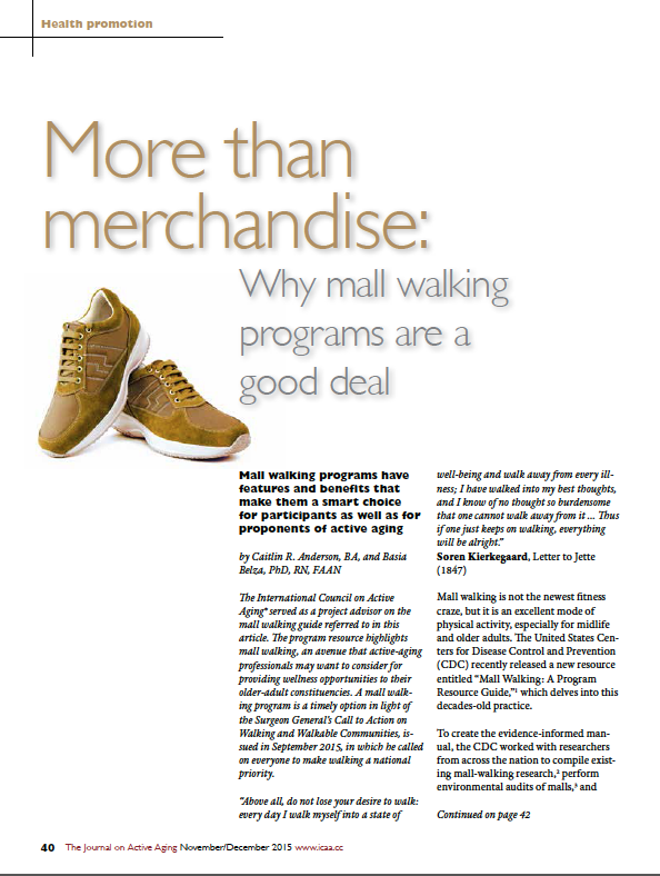 More than merchandise: Why mall walking programs are a good deal by Caitlin R. Anderson, BA, and Basia Belza, PhD, RN, FAAN-5558