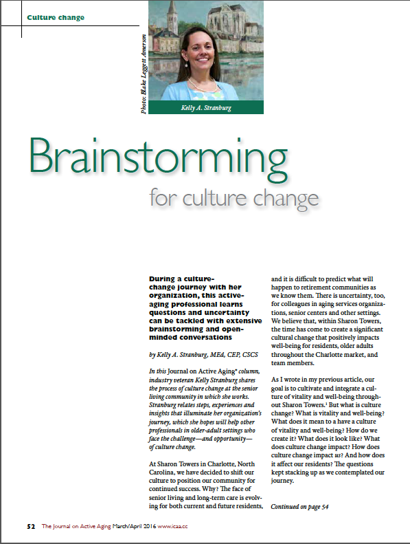Brainstorming for culture change by Kelly A. Stranburg, MEd, CEP, CSCS-5626