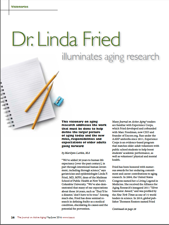 Dr. Linda Fried illuminates aging research by Marilynn Larkin, MA-5638
