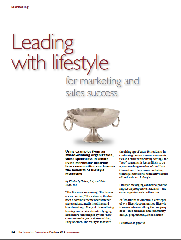 Leading with lifestyle for marketing and sales success by Kimberly Hulett, BA, and Erin Read, BA-5640
