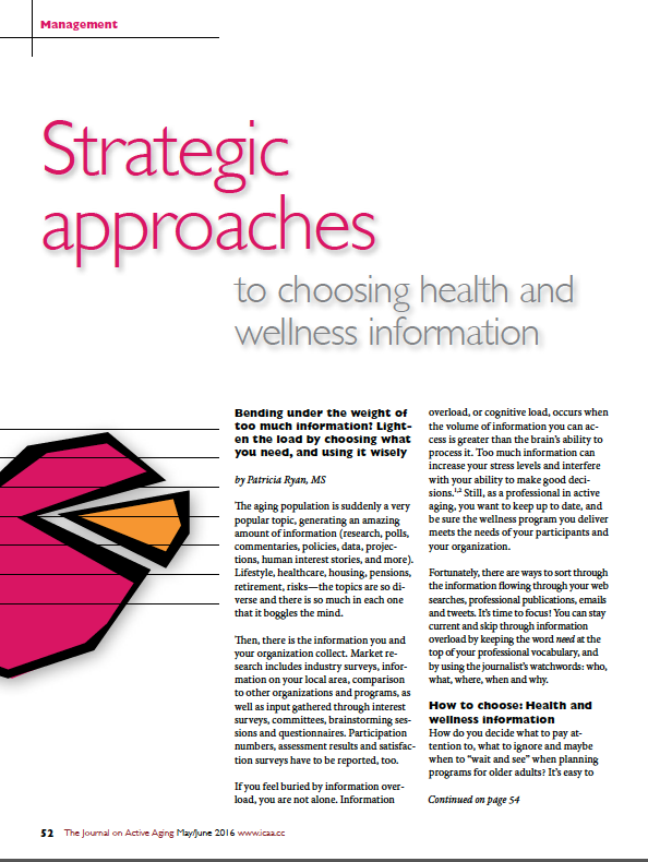 Strategic approaches to choosing health and wellness information by Patricia Ryan, MS-5641