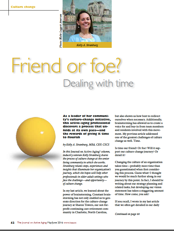 Friend or foe? Dealing with time by Kelly A. Stranburg, MEd, CEP, CSCS-5647