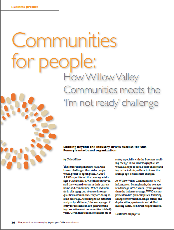 "Communities for people: How Willow Valley Communities meets the ""I'm not ready"" challenge by Colin Milner-5676"