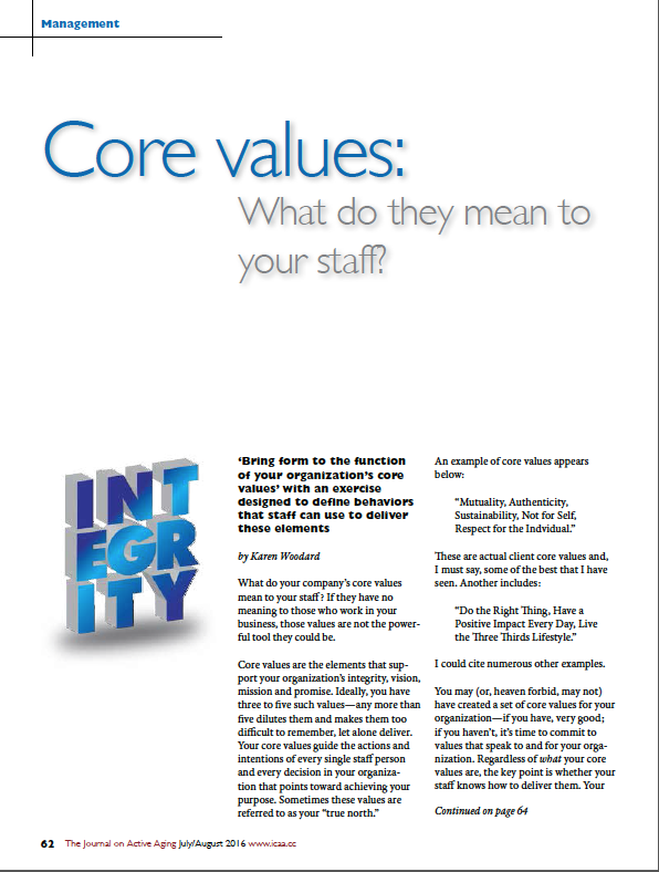 Core values: What do they mean to your staff? by Karen Woodard-5690