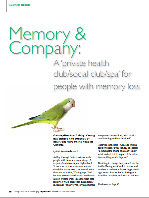 Memory & Company: A 'private health club/social club/spa' for people with memory loss by Marilynn Larkin, MA-5698