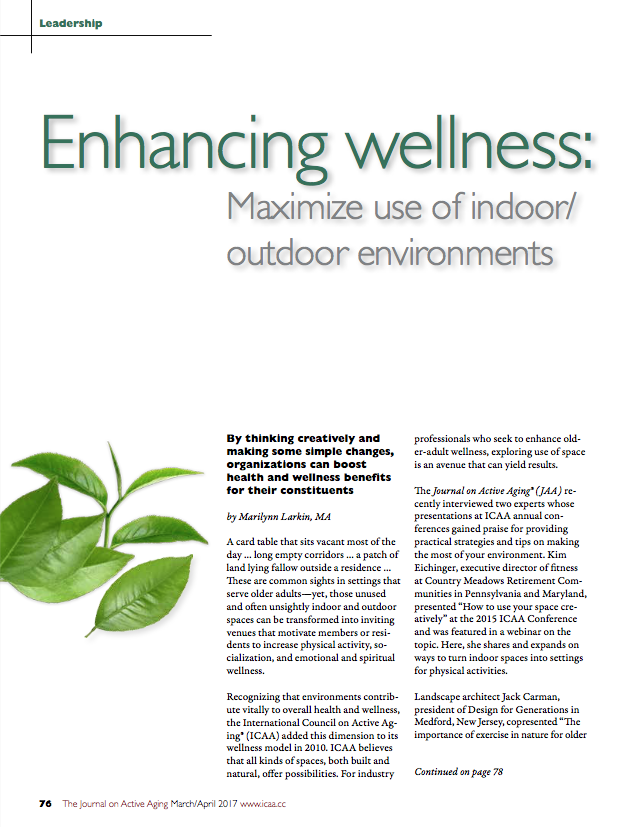 Enhancing wellness: Maximize use of indoor/outdoor environments by Marilynn Larkin, MA-5807