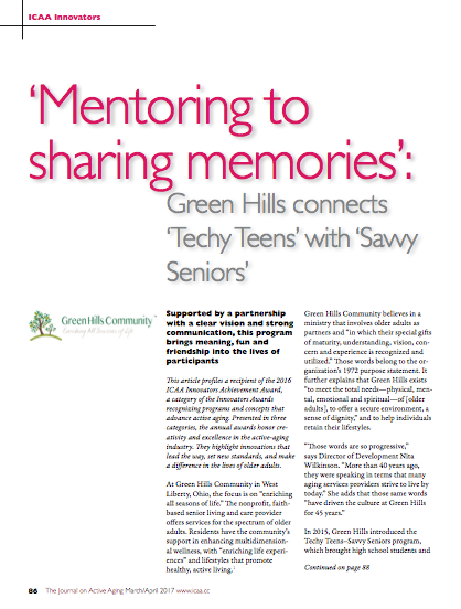 Mentoring to sharing memories. Green Hills connects Techy Teens with Savvy Seniors-5813